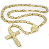 Niv's Bling - 14K Gold Plated Rosary - Iced Out Square Chain – Hip Hop Necklace, 36 Inches