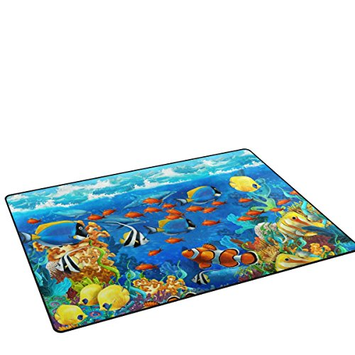 My Little Nest Beautiful Sea World Coral Reef and Fishes Kids Play Mat Baby Crawling Mat Carpet Non Slip Soft Educational Game Rug for Nursery Bedroom Classroom 3'3