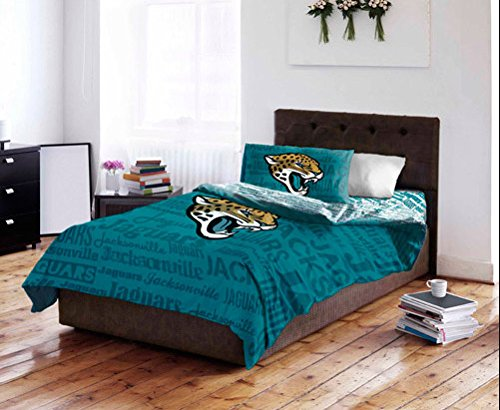 Jacksonville Jaguars Twin Comforter & Sheet Set (4 Piece Bed In A Bag)