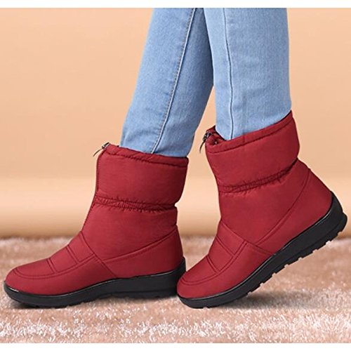 tejido de caer rojo poliamida botas for Round nieve HSXZ botas Zapatos mujer casual negro invierno azul Mid marrón Brown de botas Calf verde Toe wxI0qX