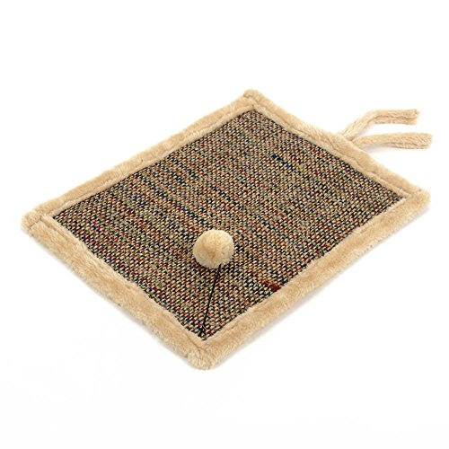 Natural Sisal Cat Scratcher Mat Anti Scratch Pad Reverse Side Soft Plush Pet Bed 17″x13″ (Khaki)