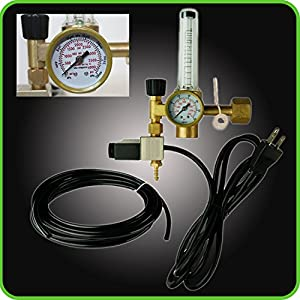 Hydroponics (Co2) Regulator Emitter System with Solenoid Valve Accurate and Easy to Adjust Flow Meter Made of High Quality Brass - Shorten up and Double Your Time for Harvesting!