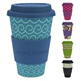ebos Lucky Charm Coffee Cup Silicone lid | Made Organic Natural Bamboo Fibre | Reusable, eco-Friendly | Takeaway Coffee Cup lid, Travel Mug | Various Designs (Cool Waves)