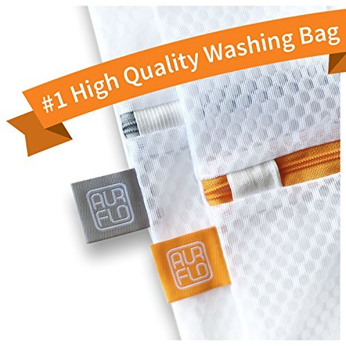 AURFLO Mesh Laundry Bag-Set of 2 Extra Large Heavy Duty Net with Zipper Lock