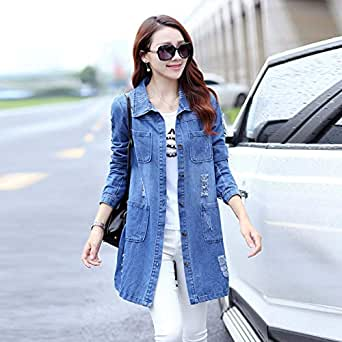 BEESCLOVER Long Denim Jacket 2018 Women Vintage Slim Autumn Winter Outerwear Fashion Single Breasted Bomber Jackets Overcoat Plus Size 5XL Blue XL