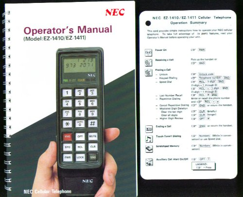 NEC EZ-1410 Cellular Telephone Operators Manual 1986 (Nec Telephone Manuals)