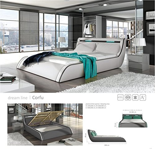 GO-CORFY (King, White) Modern Platform Bed with Storage and Multi Color LED Lights - Premium Contemporary Upholstered Bed