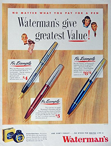 (Waterman's Ink and Pens, 40's Print Ad. full Page Color Illustration (union made) Original Vintage, Rare 1948 Life Magazine Art)
