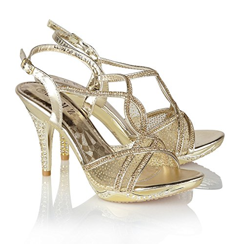 Sandali Alto Diamante London 279 Con Sera Gemz Scarpe Tacco Gold Prom Party BxYwXqx07
