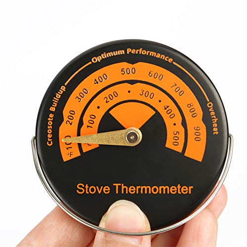 Thermometer Aluminum (Orange Stove Thermometer, Merssyria Magnetic Oven Fireplace Aluminum Thermometer for Meter Wood Burner Pipe Thermometer Home Kitchen Gauge)