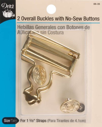 Dritz 88-35 Overall Buckles with No-Sew Buttons for 1-5/8-Inch, Gilt 2-Count