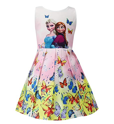 Crazy Gotend Toddler Girls Elsa Dress Sleeveless Princess Dresses Pink 2-3Y -