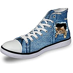 Coloranimal Classic Women High Top Canvas Shoes Cute Cat Vulcanize Sneaker US6