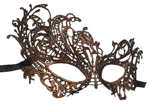 Flywife Lace Masquerade Ball Mask Venetian Swan Mardi Gras Halloween Costume Party Mask (A Antique Copper -