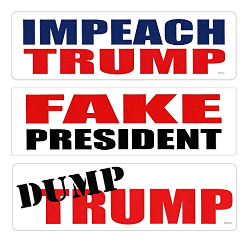 Bumper Stickers - I Hate Donald Trump Starter Kit - Dump Trump, Impeach Trump, Fake President (Fake News Reference) - 3 Top Selling Stickers