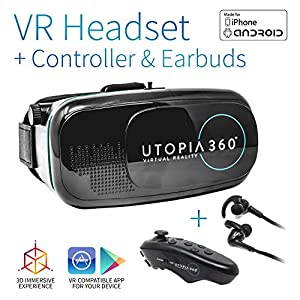 Utopia 360° VR Headset with Controller and Earbuds   3D Virtual Reality Headset for Games, Movies, Apps - Compatible with iPhone and Android Smartphones (2018 Virtual Reality Headset Model)