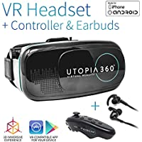 Utopia 360° VR Headset with Controller and Earbuds | 3D Virtual Reality Headset for Games, Movies, Apps - Compatible with iPhone and Android Smartphones (2018 Virtual Reality Headset Model)