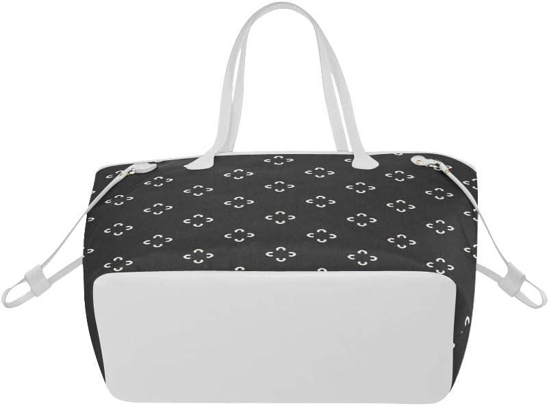 Shoulder Bag Monochrome Black White Seamless Woman Handbag Print Shoulder Bag Large Capacity Water Resistant with Durable Handle