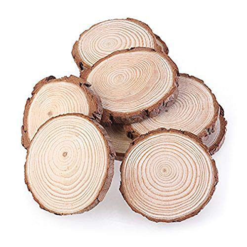 Gazelle Trading Natural Wood Slices 30 Pcs Craft Wood kit Unfinished Predrilled Wooden Circles with Tree Bark Great for Arts and Crafts Christmas Ornaments DIY Crafts ()