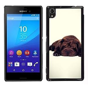 EJOY---Cubierta de la caja de protección para la piel dura ** Sony Xperia M4 Aqua ** --Lindo perro de raza blanca Sleepy Cansado
