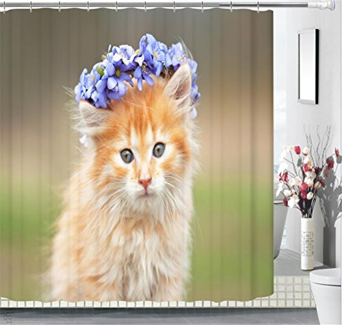 3D Personality Shower curtain Visual space Cute cat wearing a purple garland on his head Digital Printing Polyester Fabrics Waterproof and mildew Occlusion privacy Cut off Hanging curtains , (Tuba Tracks)