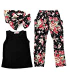 Lystaii Clothing Sets Girls Outfit 3pcs Shirts Tops + Floral Pants Set + Headband