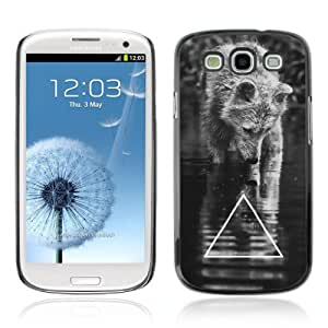 Designer Depo Hard Protection Case for Samsung Galaxy S3 / Cool B&W Wolf Triangle