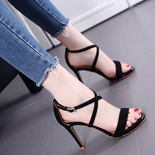 Fina del talón de cinta cruzada sandalias de las mujeres de moda de verano Palabra hebilla zapatos de tacón alto Black