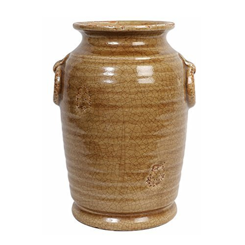 Hosley Distressed Light Brown Tan Glazed Ceramic Urn Vase with Rings 10 Inch High. Ideal Gift for Weddings Special Occasions and for Reiki Spa Candle Gardens Meditation Settings O9