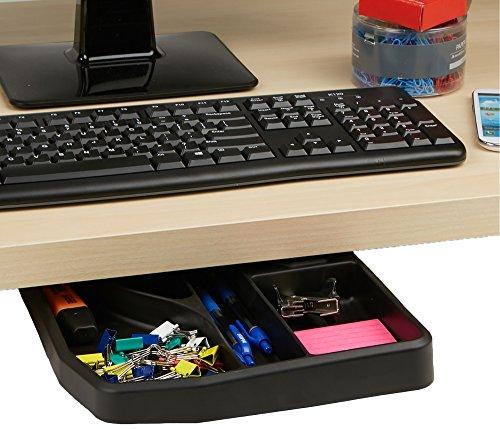 Mind Reader Under Under Desk Sliding Compartment Organizer, Black, Accessories Holder
