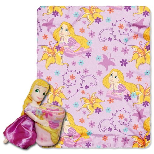 Disney, Rapunzel, Rapunzel 40-Inch-by-50-Inch Fleece Blanket with Character Pillow by The Northwest Company ()