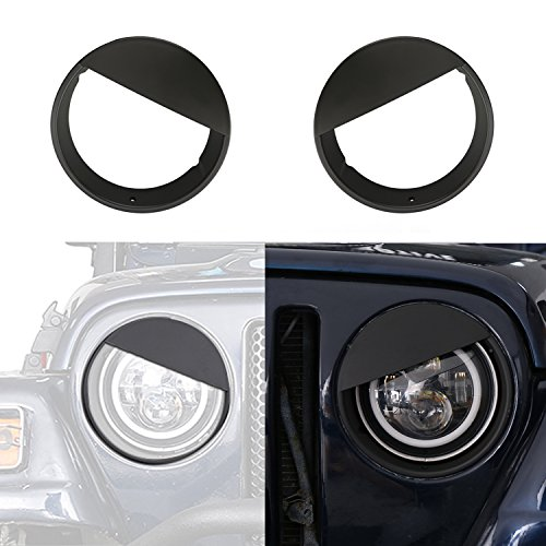 opar Black Angry Bird Headlight Covers Bezels for 1997-2006 Jeep Wrangler TJ & Unlimited -Pair