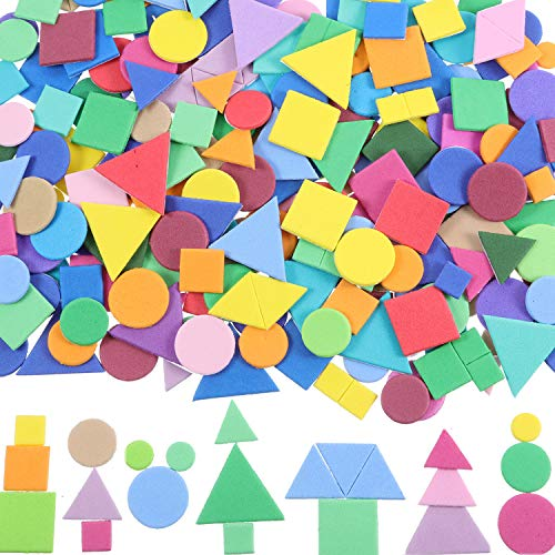 - Sumind 1000 Pieces Assorted Colors Foam Geometry Stickers Mini Self-Adhesive Geometry Shapes Foam Stickers (Circle, Square, Triangle)