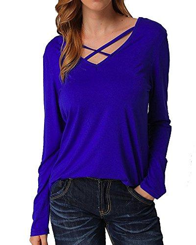 Lyxinpf Women's Long Sleeve Criss Cross Front Shirt Deep V-Neck Casual Tee Shirts Tops (L,A-Blue) (Shirt Womens Evening)