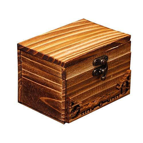 VORCOOL Wooden Treasure Box Treasure Chest Chinese Antique Buckles Storage Boxes for Jewelry Keepsake Silverware Organizer Album Collection(Size3.9x2.8 inch)