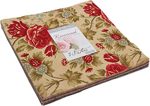 3 Sisters Rosewood Layer Cake 42 10-inch Squares Moda Fabrics 44180LC ()