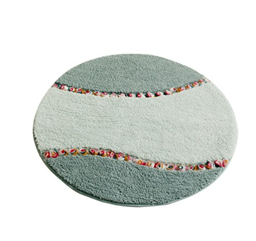 jsjcheng round rose floral non slip bathroom rugs and mats 275inch diameter green