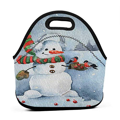 (Tote Waterproof Outdoor Snowman,Watercolor Style Snowfall Outdoors Merry Christmas Theme Winter Bullfinch Birds, Multicolor,pepper pig lunch bag for kids)