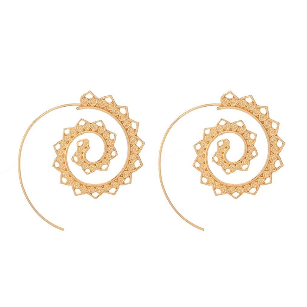 Molyveva Spiral Hoop Earrings Bohemia Circles Round Tribal Hoop Earrings Vintage Jewelry for Women Girls (Gold)