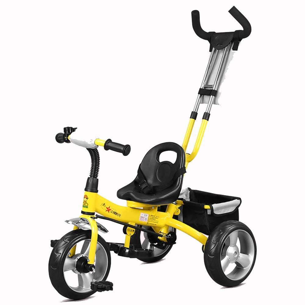 【通販激安】 Axdwfd Axdwfd 子ども用自転車 黄 子供用三輪車15年歳の誕生日プレゼントベビー三輪車用押しハンドル付(積載重量25kg) 黄 B07PYZ41CL, 看板ショッピングセンター:a161247e --- senas.4x4.lt