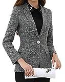 Domple Women One Button Long Sleeve Business Slim Fit Lapel Blazer Suit Jackets Gray M