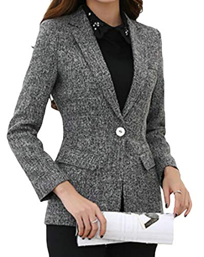 Domple Women One Button Long Sleeve Business Slim Fit Lapel Blazer Suit Jackets Gray M by Domple (Image #2)