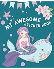 My Awesome Sticker Book: Blank Sticker Book for Collecting Stickers | Reusable Sticker Collection Album for Kids - Mermaid Design
