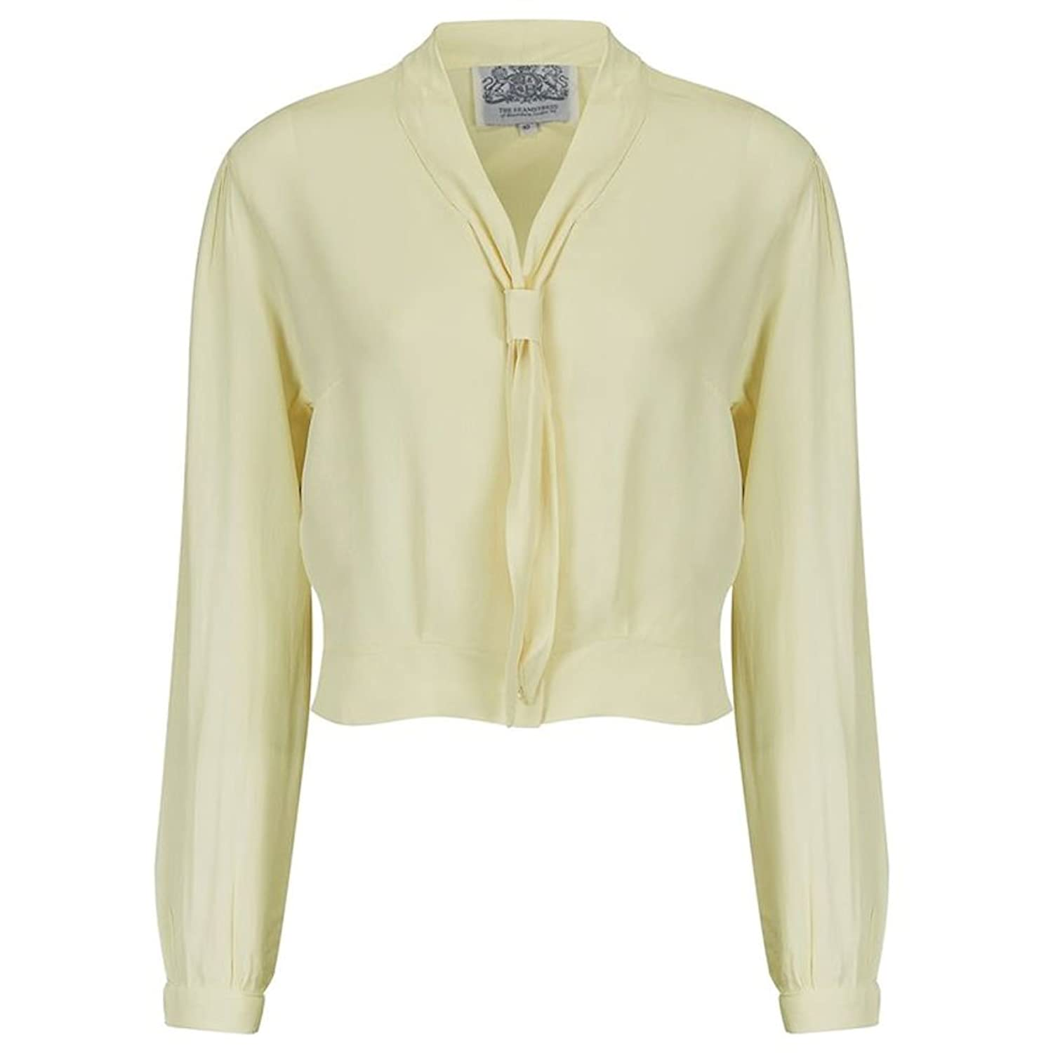 1940s Blouses and Tops Seamstress Of Bloomsbury 1940s Cream Sailor Inspired Long Sleeve Bonnie Blouse $44.46 AT vintagedancer.com