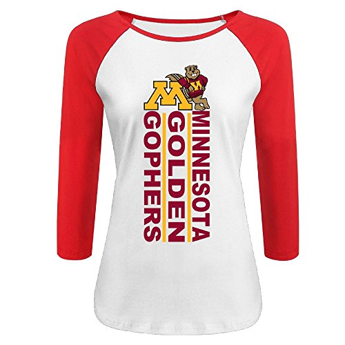 EUNICORN SG Minnesota Golden Gophers Women Or Youth 3/4 Sleeve Baseball Raglan T (Minnesota Golden Gophers Womens Basketball)