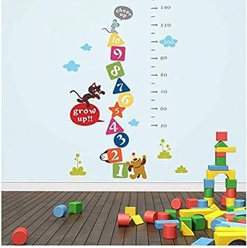 Gato De Dibujos Animados Ratón Perro Alentar La Medida De Altura Etiqueta De La Pared para Los Niños Cuadro De Crecimiento De La Pared Etiqueta Decorativa Mural Art Poster 153 * 75 Cm