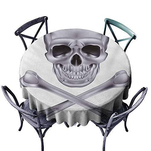 VIVIDX Stain Round Tablecloth,Grey,Vivid Skull and Crossed Bones Dangerous Scary Dead Skeleton Evil Face Halloween Theme,High-end Durable Creative Home,40 INCH,Dimgray]()