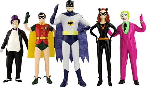 Batman bendable figures , classic tv series set of five, includes the penguin, batman, cat woman, and the joker, actual size over 7