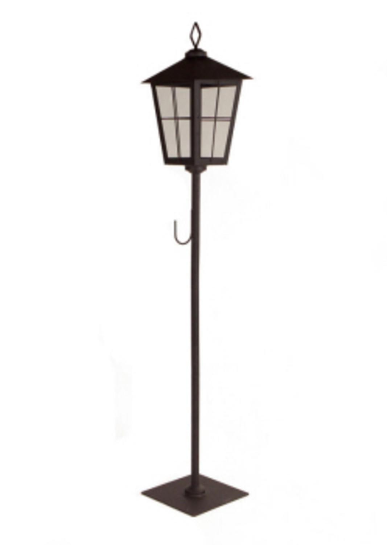 Flat Black Rustic Metal Christmas Holiday Lantern with Wreath Holder Hook