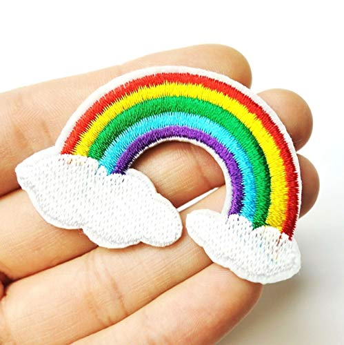 Rainbow Arch Over White Cloud Iron-On/Sew-On Embroidered Applique, LGBT Pride TY-240